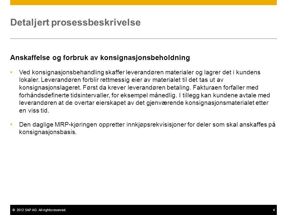 ©2012 SAP AG. All rights reserved.4 Detaljert prosessbeskrivelse Anskaffelse og forbruk av konsignasjonsbeholdning Ved konsignasjonsbehandling skaffer