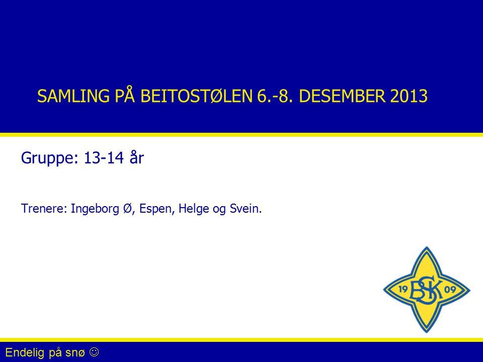 SAMLING PÅ BEITOSTØLEN 6.-8. DESEMBER 2013 Gruppe: 13-14 år Trenere: Ingeborg Ø, Espen, Helge og Svein. Endelig på snø