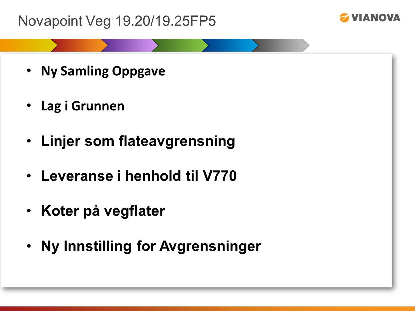 Novapoint Veg 19.20/19.25FP5 Ny Samling Oppgave Brukes til å samle inndata/beregningsgrunnlag til andre oppgaver (bare oppgaver, ikke objekter fram til neste release) En trenger ikke å reservere oppgaver som samles i en Samling-oppgave Dersom inndata-oppgavene til Samlings-oppgaven endres, endres Samling-oppgaven automatisk.