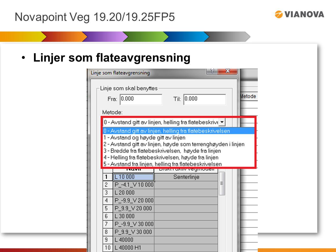 Novapoint Veg 19.20/19.25FP5 Linjer som flateavgrensning