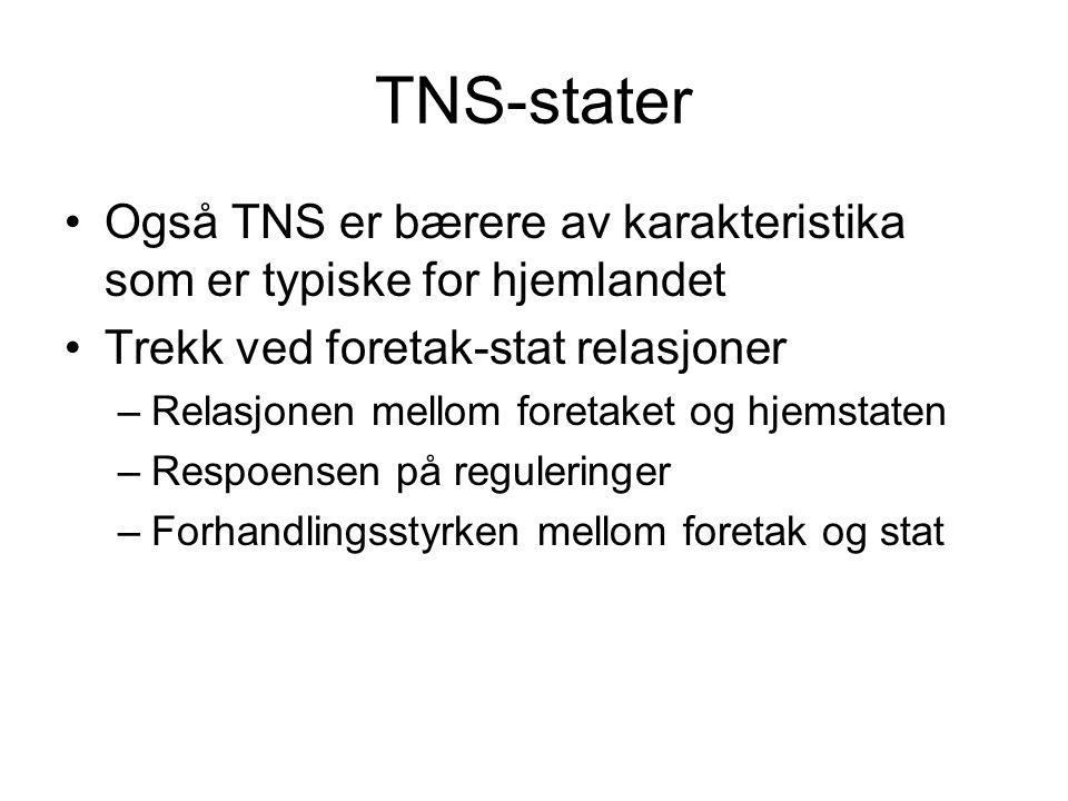 TNS-stater Også TNS er bærere av karakteristika som er typiske for hjemlandet Trekk ved foretak-stat relasjoner –Relasjonen mellom foretaket og hjemst