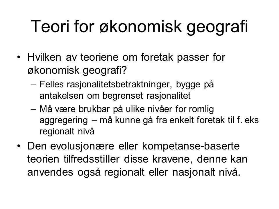 Teori for økonomisk geografi Hvilken av teoriene om foretak passer for økonomisk geografi? –Felles rasjonalitetsbetraktninger, bygge på antakelsen om