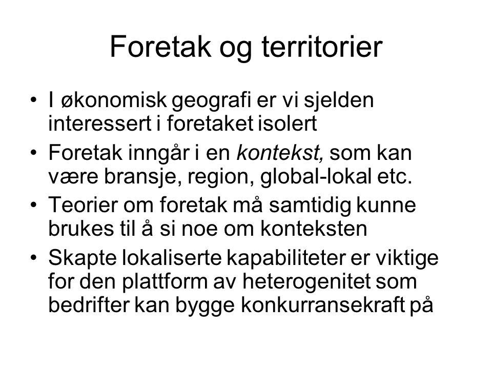 Foretak og territorier I økonomisk geografi er vi sjelden interessert i foretaket isolert Foretak inngår i en kontekst, som kan være bransje, region,