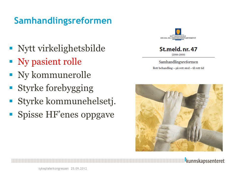 Nasjonal Helse- og omsorgsplan  Folkehelse  Fremtidens komm.helsetj.