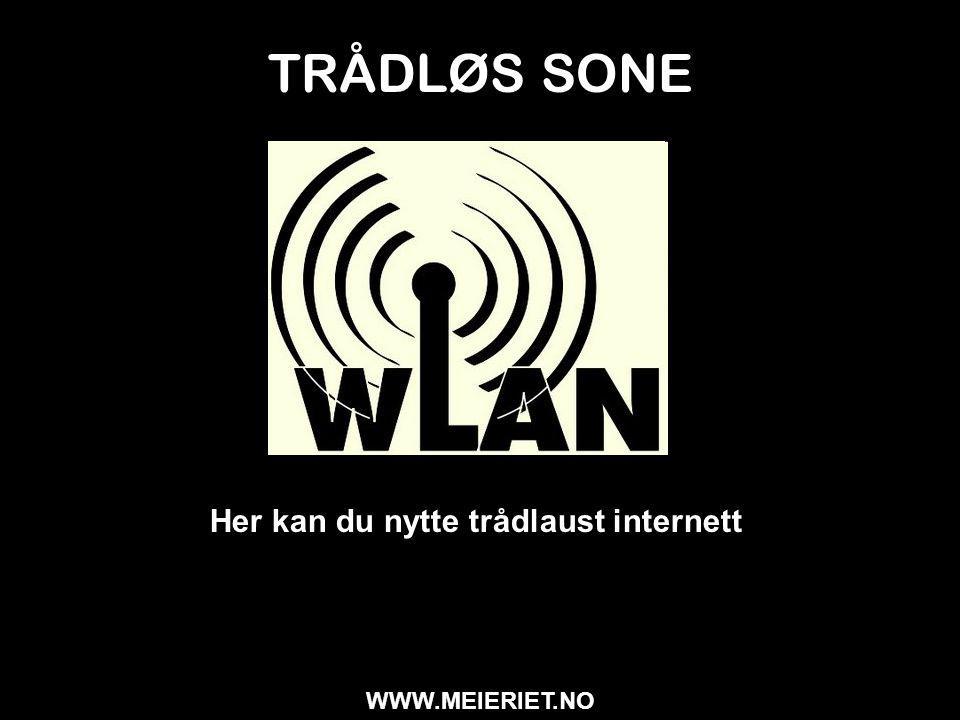 TRÅDLØS SONE Her kan du nytte trådlaust internett WWW.MEIERIET.NO