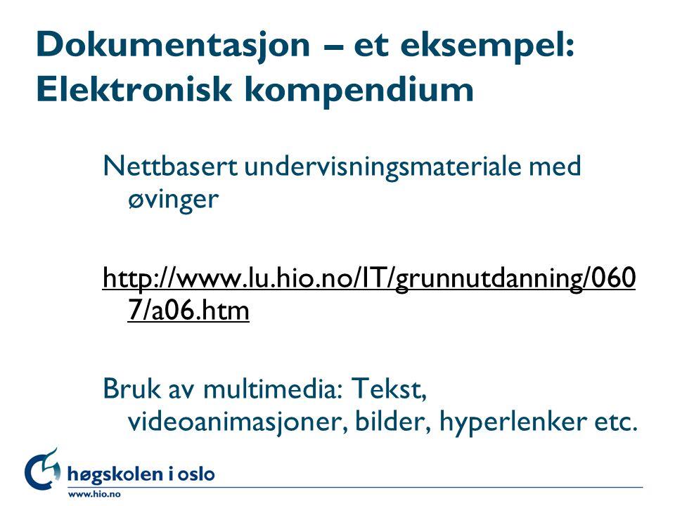 Dokumentasjon – et eksempel: Elektronisk kompendium Nettbasert undervisningsmateriale med øvinger http://www.lu.hio.no/IT/grunnutdanning/060 7/a06.htm
