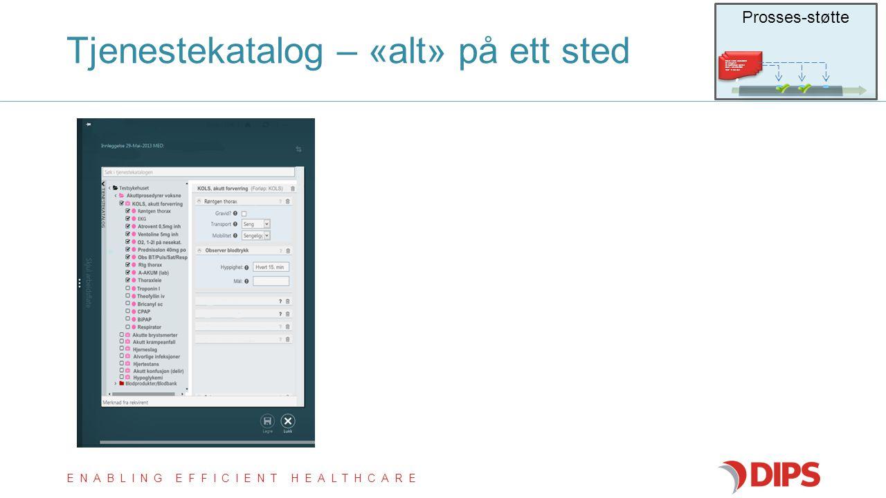 ENABLING EFFICIENT HEALTHCARE Tjenestekatalog – «alt» på ett sted Prosses-støtte Blod i urin (Hematuri)  Urografi  Cystoscopi (polikl.)  Lab, utr.