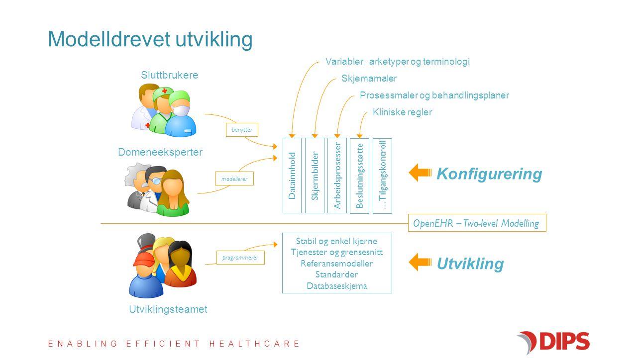 ENABLING EFFICIENT HEALTHCARE Stabil og enkel kjerne Tjenester og grensesnitt Referansemodeller Standarder Databaseskjema Datainnhold Skjermbilder Arb