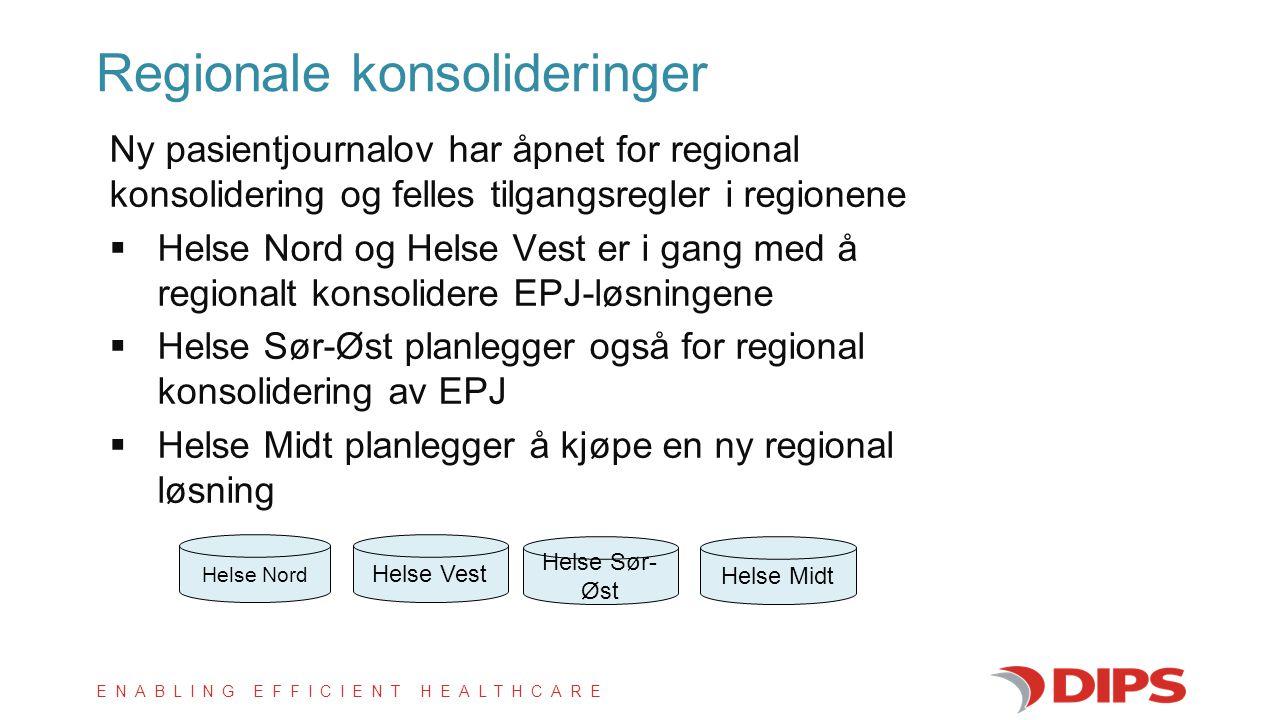 ENABLING EFFICIENT HEALTHCARE Ny pasientjournalov har åpnet for regional konsolidering og felles tilgangsregler i regionene  Helse Nord og Helse Vest