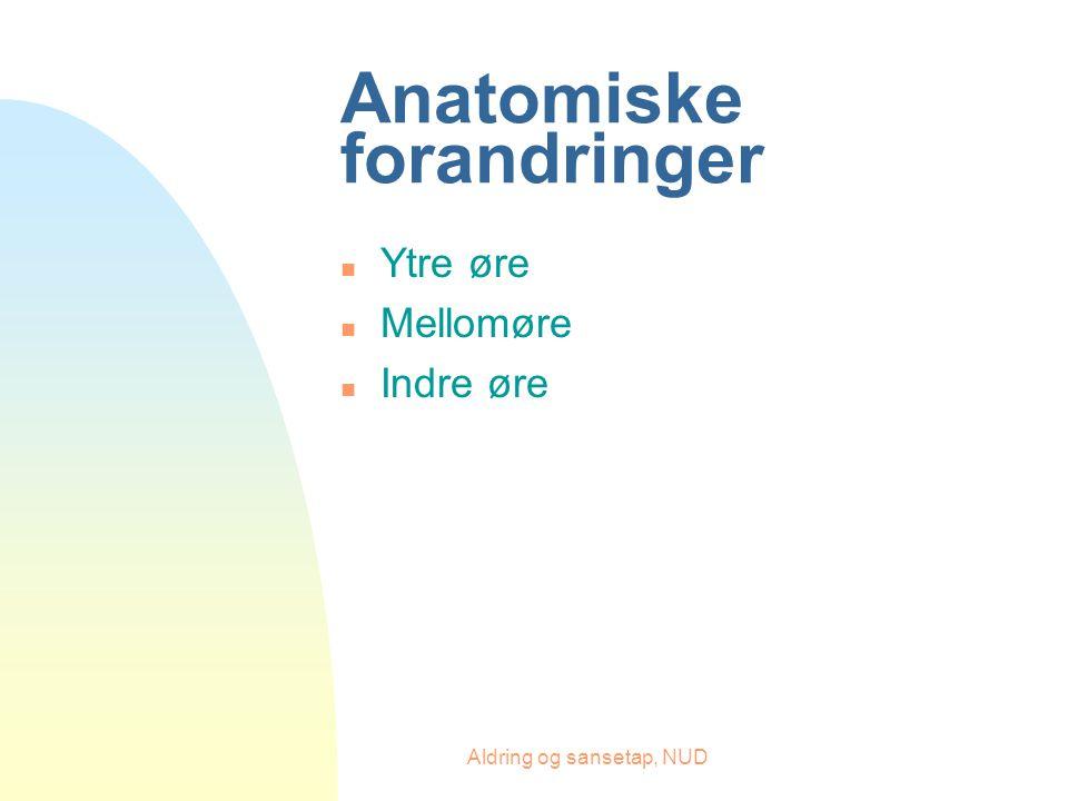Aldring og sansetap, NUD Anatomiske forandringer n Ytre øre n Mellomøre n Indre øre