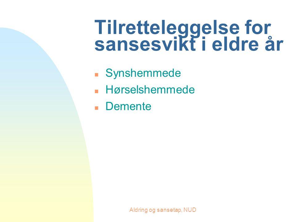 Aldring og sansetap, NUD Tilretteleggelse for sansesvikt i eldre år n Synshemmede n Hørselshemmede n Demente