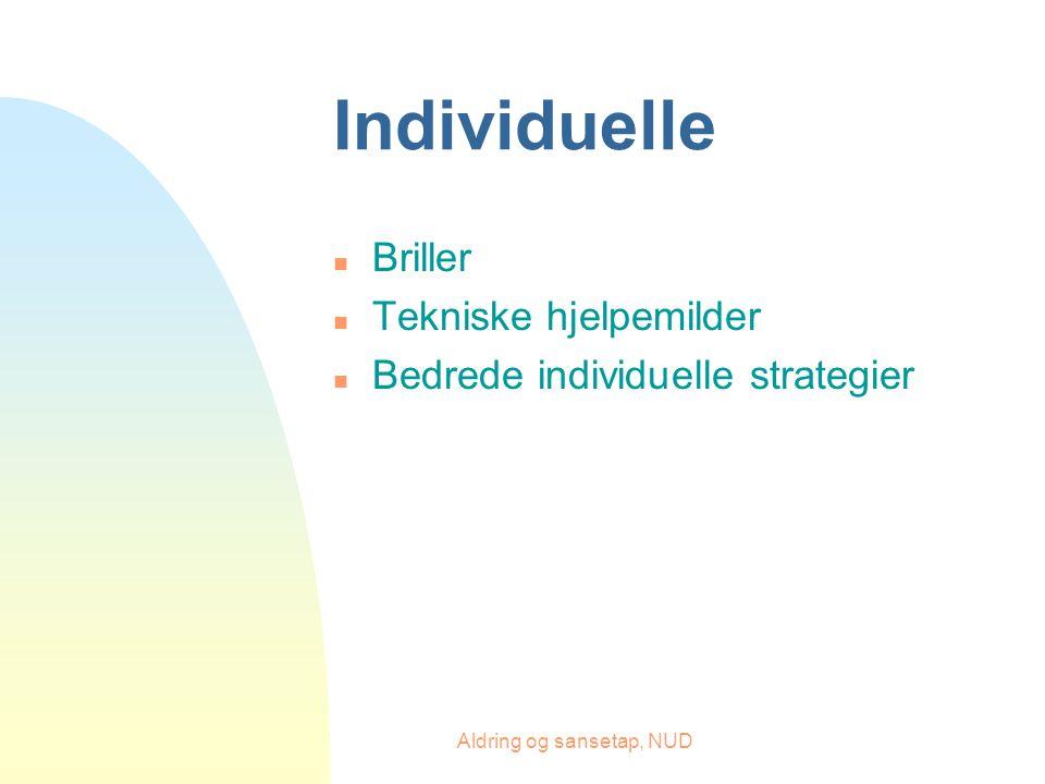 Aldring og sansetap, NUD Individuelle n Briller n Tekniske hjelpemilder n Bedrede individuelle strategier