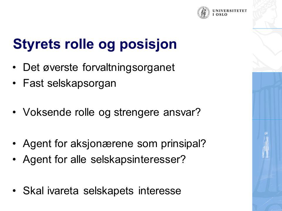 Styrets rolle og posisjon Det øverste forvaltningsorganet Fast selskapsorgan Voksende rolle og strengere ansvar.