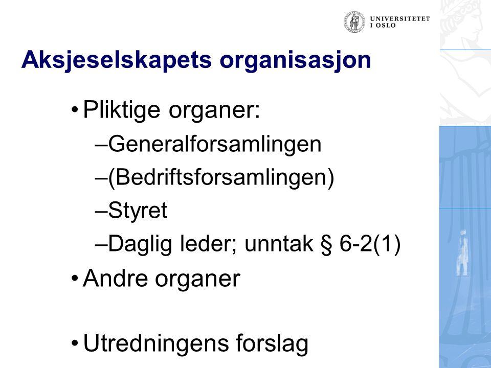 Aksjeselskapets organisasjon Pliktige organer: –Generalforsamlingen –(Bedriftsforsamlingen) –Styret –Daglig leder; unntak § 6-2(1) Andre organer Utredningens forslag