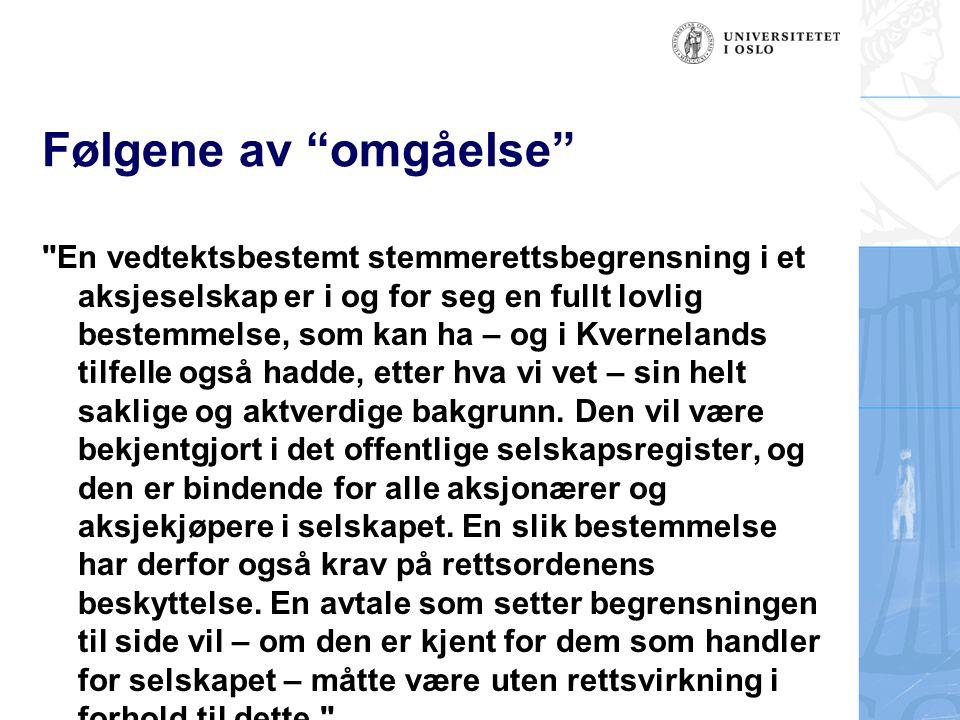 13.2 Aksjonæravtaler (forts.) Rt.
