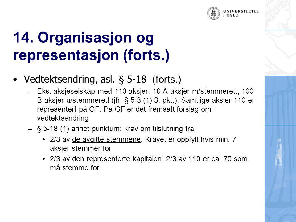 14.Organisasjon og representasjon (forts.) Vedtektsendring, asl.