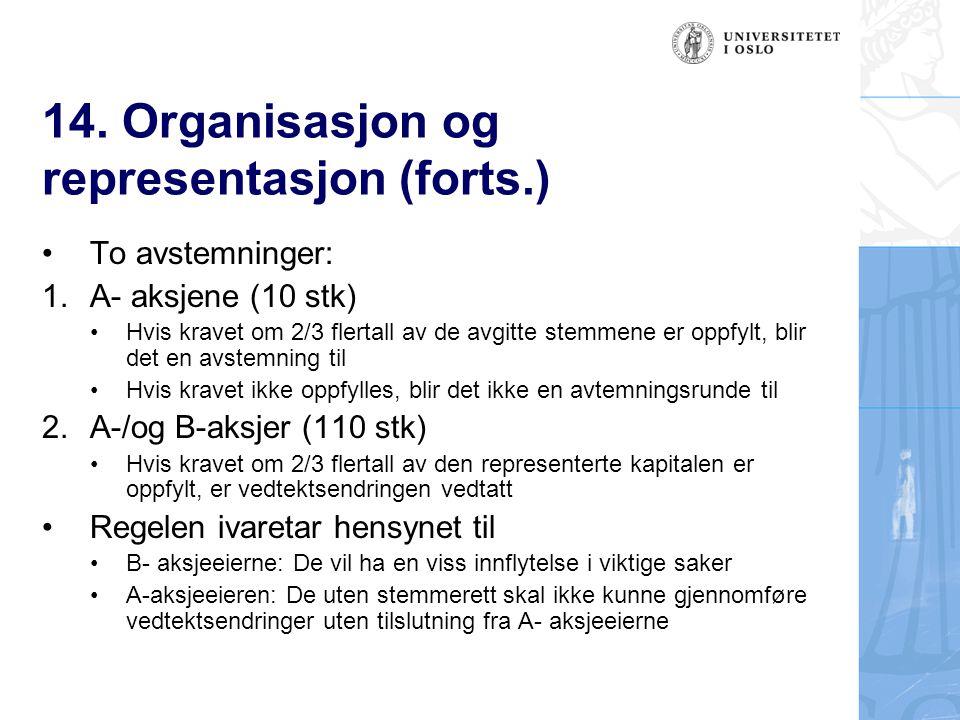 14. Organisasjon og representasjon (forts.) To avstemninger: 1.A- aksjene (10 stk) Hvis kravet om 2/3 flertall av de avgitte stemmene er oppfylt, blir