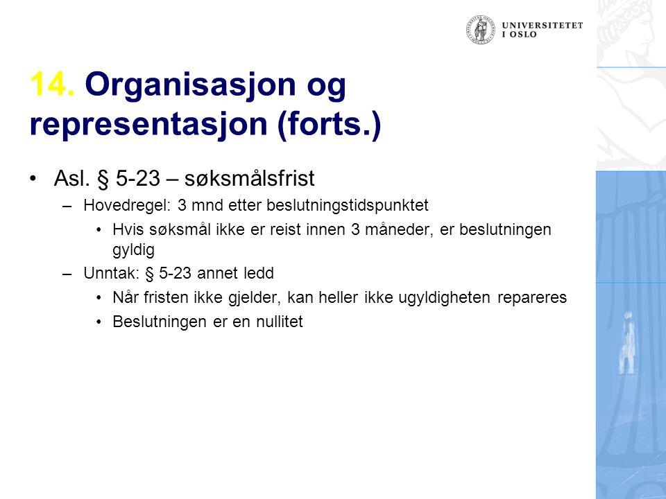 14. Organisasjon og representasjon (forts.) Asl. § 5-23 – søksmålsfrist –Hovedregel: 3 mnd etter beslutningstidspunktet Hvis søksmål ikke er reist inn