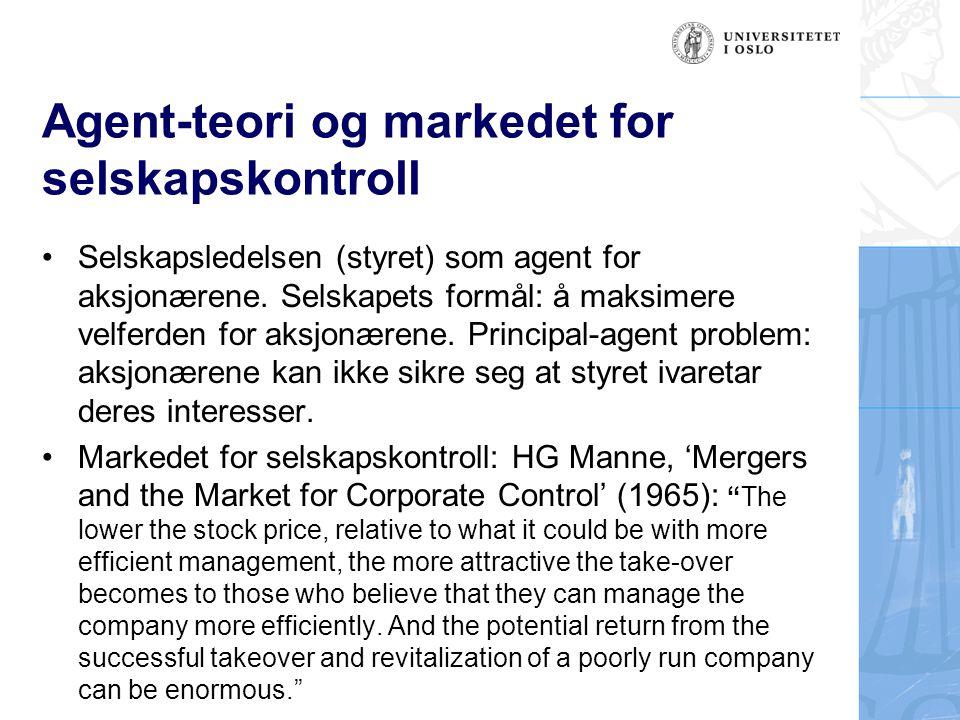 Agent-teori og markedet for selskapskontroll Selskapsledelsen (styret) som agent for aksjonærene. Selskapets formål: å maksimere velferden for aksjonæ