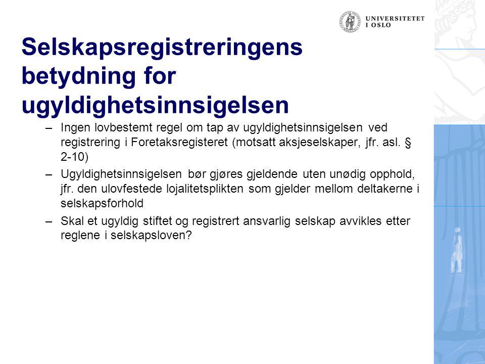 Selskapsregistreringens betydning for ugyldighetsinnsigelsen –Ingen lovbestemt regel om tap av ugyldighetsinnsigelsen ved registrering i Foretaksregis