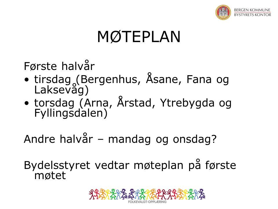 MØTEPLAN Første halvår tirsdag (Bergenhus, Åsane, Fana og Laksevåg) torsdag (Arna, Årstad, Ytrebygda og Fyllingsdalen) Andre halvår – mandag og onsdag.