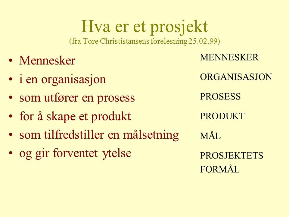 Hva er et prosjekt (fra Tore Christistansens forelesning 25.02.99) Mennesker i en organisasjon som utfører en prosess for å skape et produkt som tilfr