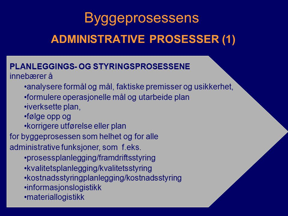 Byggeprosessens ADMINISTRATIVE PROSESSER (2) ANSKAFFELSESPROSESSER kontraheringsprosess -markedsanalyse, kontraktstrategi -oppdragsbeskrivelse, spesifikasjoner -kontraktsbestemmelser, organisering, prosedyrer, ansvar -forespørsel, prekvalifisering -tilbuds-/anbudsinnhenting, evaluering kontraktsetablering -evt.