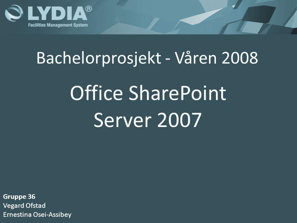 Bachelorprosjekt - Våren 2008 Office SharePoint Server 2007 Gruppe 36 Vegard Ofstad Ernestina Osei-Assibey