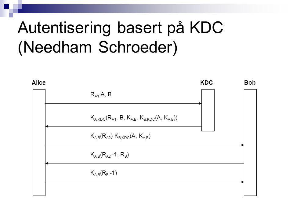 Autentisering basert på KDC (Needham Schroeder) AliceBobKDC R A1,A, B K A,KDC (R A1, B, K A,B, K B,KDC (A, K A,B )) K A,B (R A2 ) K B,KDC (A, K A,B ) K A,B (R A2 -1, R B ) K A,B (R B -1)