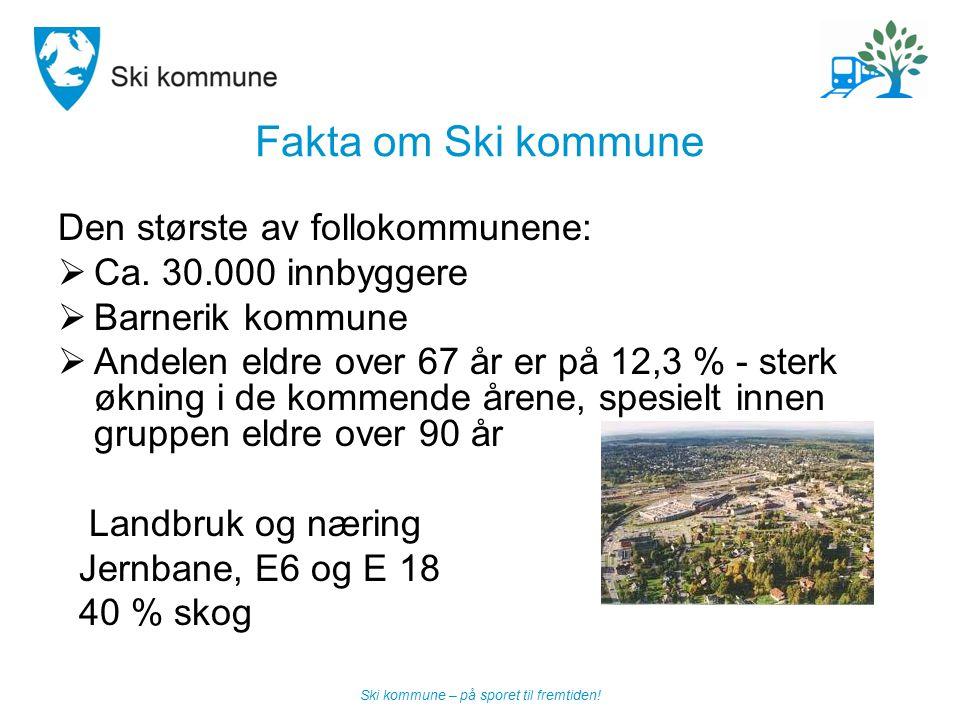 Ski kommune – på sporet til fremtiden! Fakta om Ski kommune Den største av follokommunene:  Ca. 30.000 innbyggere  Barnerik kommune  Andelen eldre
