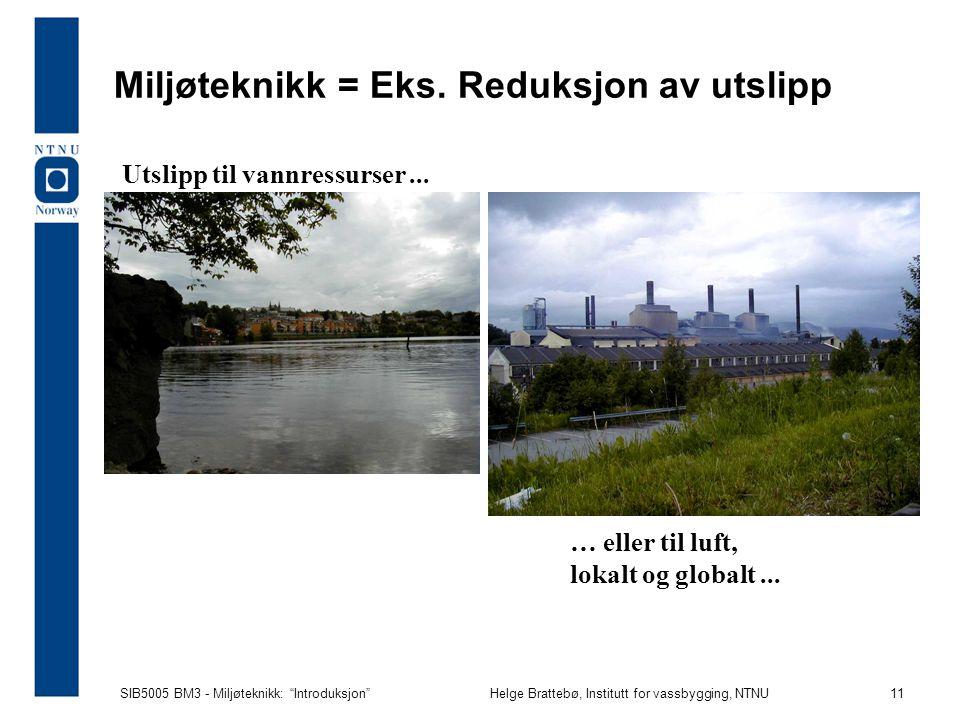 SIB5005 BM3 - Miljøteknikk: Introduksjon Helge Brattebø, Institutt for vassbygging, NTNU 11 Miljøteknikk = Eks.