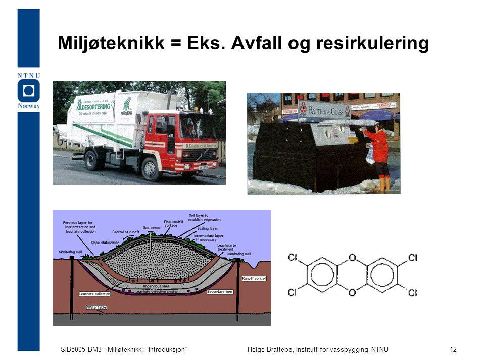SIB5005 BM3 - Miljøteknikk: Introduksjon Helge Brattebø, Institutt for vassbygging, NTNU 12 Miljøteknikk = Eks.