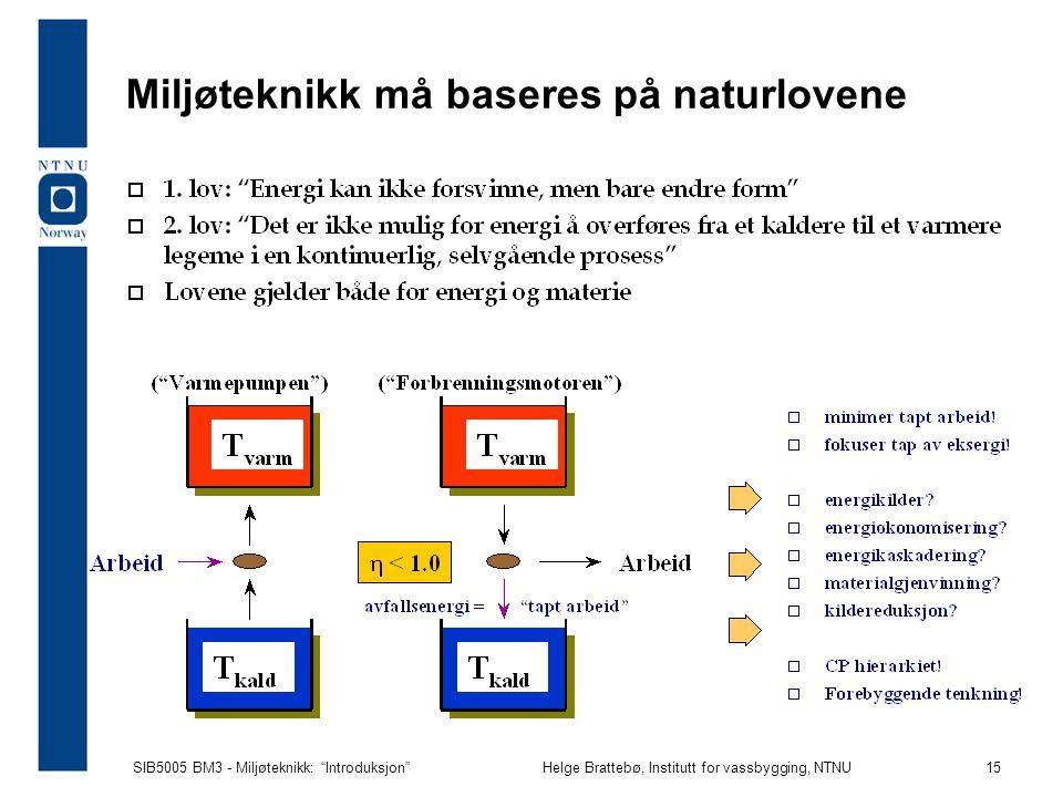 SIB5005 BM3 - Miljøteknikk: Introduksjon Helge Brattebø, Institutt for vassbygging, NTNU 15 Miljøteknikk må baseres på naturlovene