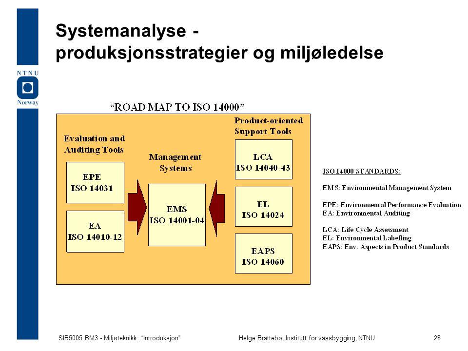 SIB5005 BM3 - Miljøteknikk: Introduksjon Helge Brattebø, Institutt for vassbygging, NTNU 28 Systemanalyse - produksjonsstrategier og miljøledelse