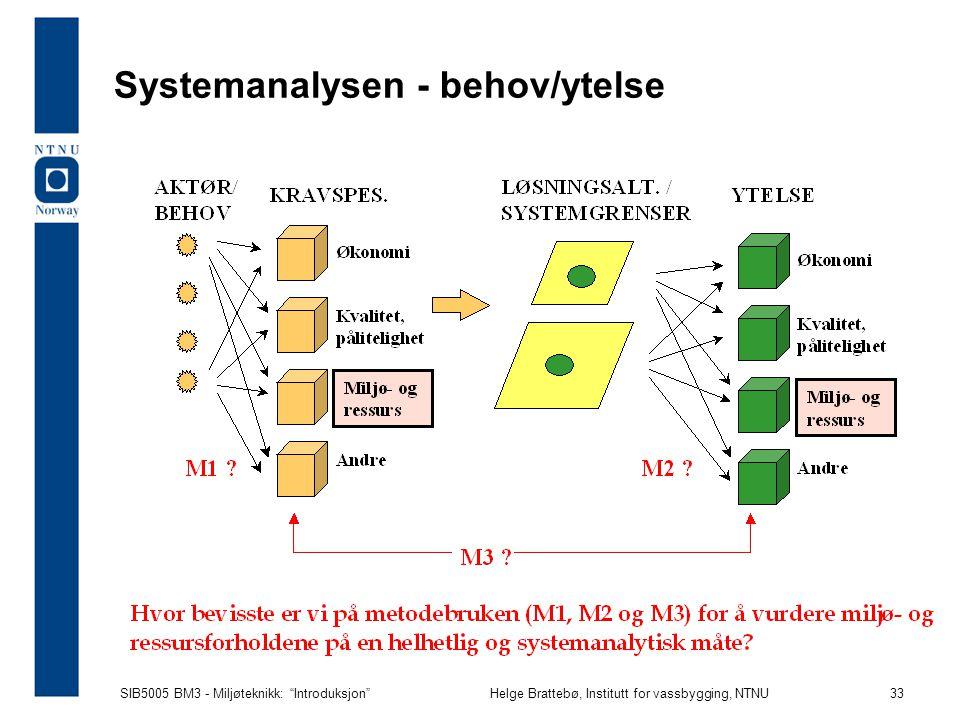 SIB5005 BM3 - Miljøteknikk: Introduksjon Helge Brattebø, Institutt for vassbygging, NTNU 33 Systemanalysen - behov/ytelse