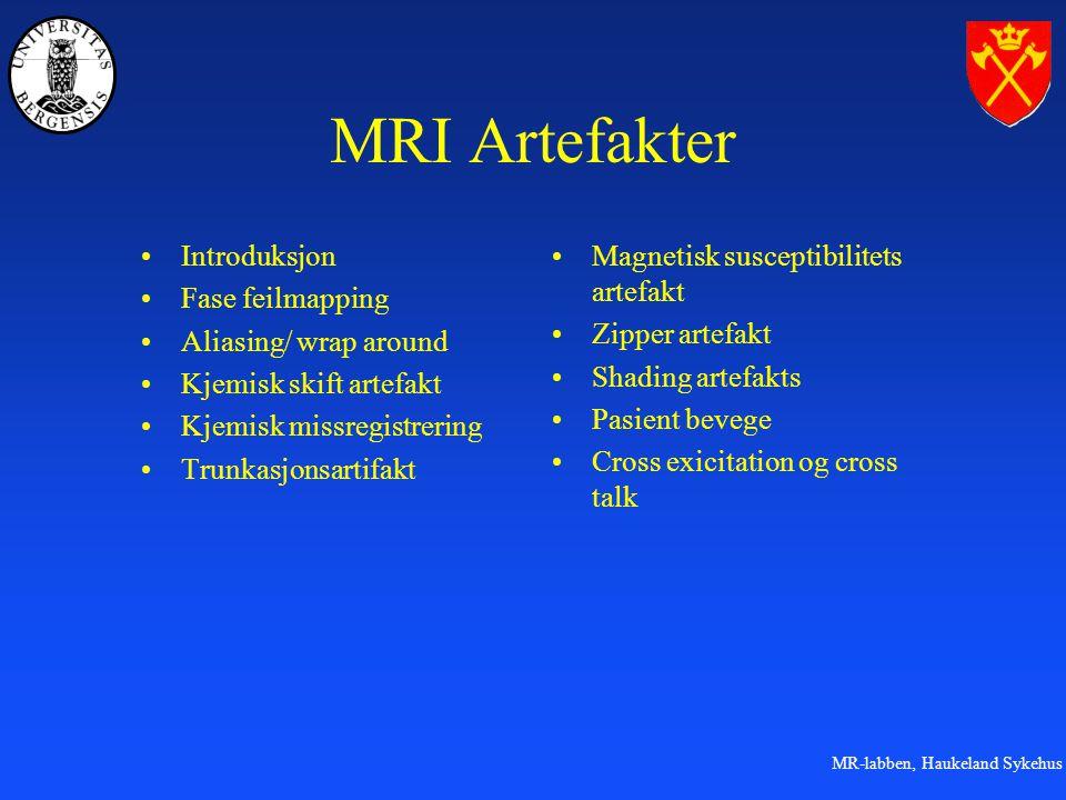 MR-labben, Haukeland Sykehus MRI Artefakter Introduksjon Fase feilmapping Aliasing/ wrap around Kjemisk skift artefakt Kjemisk missregistrering Trunka