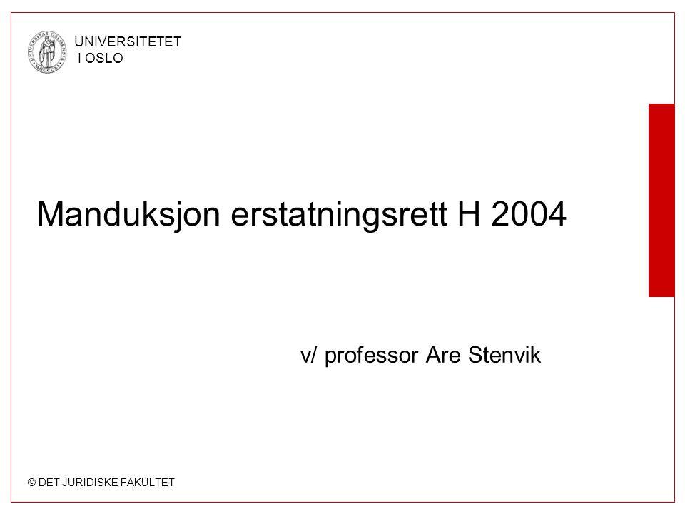 © DET JURIDISKE FAKULTET UNIVERSITETET I OSLO Manduksjon erstatningsrett H 2004 v/ professor Are Stenvik