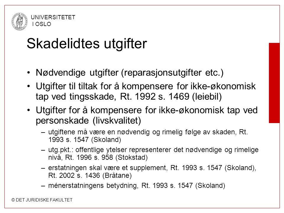 © DET JURIDISKE FAKULTET UNIVERSITETET I OSLO Skadelidtes utgifter Nødvendige utgifter (reparasjonsutgifter etc.) Utgifter til tiltak for å kompensere