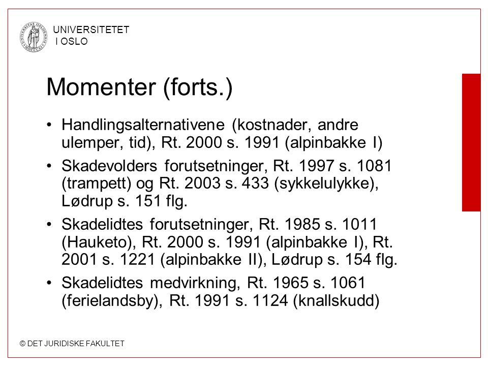 © DET JURIDISKE FAKULTET UNIVERSITETET I OSLO Momenter (forts.) Handlingsalternativene (kostnader, andre ulemper, tid), Rt. 2000 s. 1991 (alpinbakke I