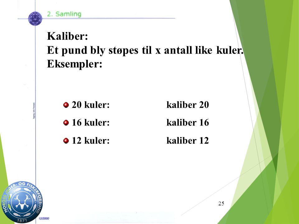 25 Kaliber: Et pund bly støpes til x antall like kuler.