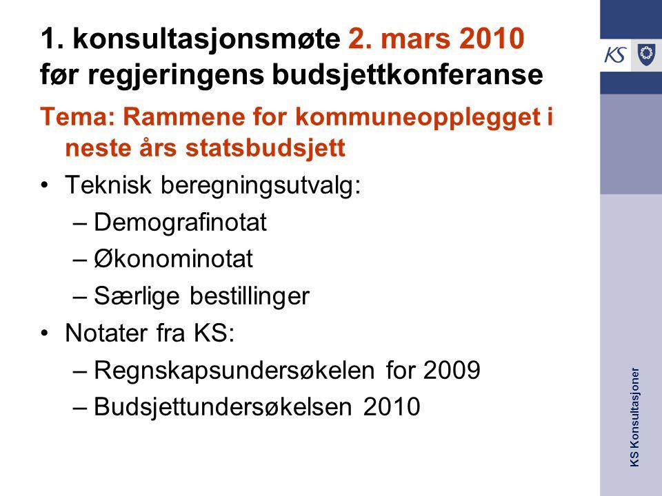 KS Konsultasjoner 1. konsultasjonsmøte 2. mars 2010 før regjeringens budsjettkonferanse Tema: Rammene for kommuneopplegget i neste års statsbudsjett T