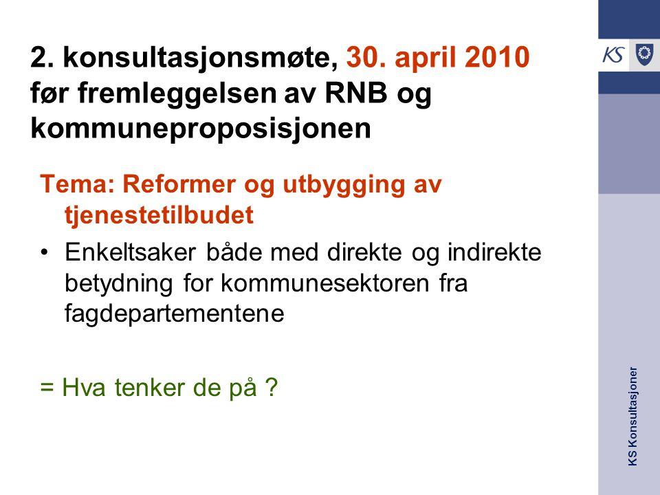 KS Konsultasjoner 2. konsultasjonsmøte, 30. april 2010 før fremleggelsen av RNB og kommuneproposisjonen Tema: Reformer og utbygging av tjenestetilbude