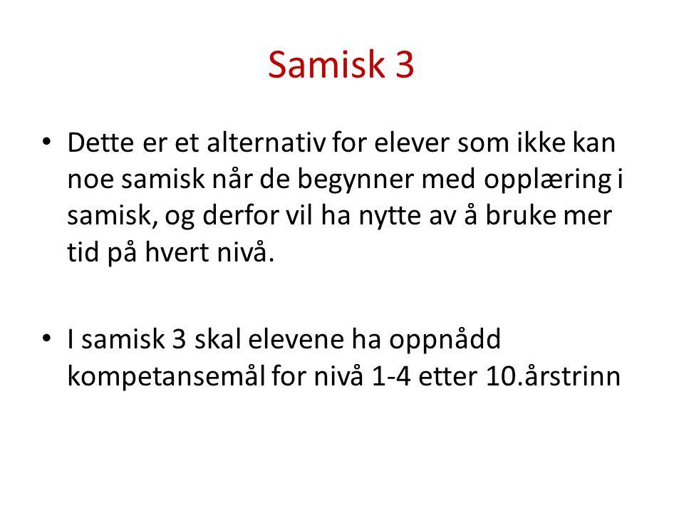 Samisk 3 Dette er et alternativ for elever som ikke kan noe samisk når de begynner med opplæring i samisk, og derfor vil ha nytte av å bruke mer tid på hvert nivå.