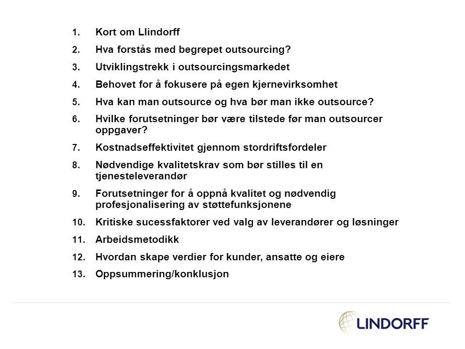 1. Kort om Llindorff 2. Hva forstås med begrepet outsourcing? 3. Utviklingstrekk i outsourcingsmarkedet 4. Behovet for å fokusere på egen kjernevirkso