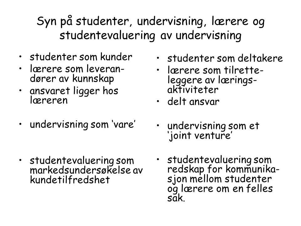 Studentevaluering av undervisning Tre formål: kvalitetskontroll kvalitetsutvikling kvalitetsdemonstrasjon To hovedtyper: sluttevaluering underveisevaluering