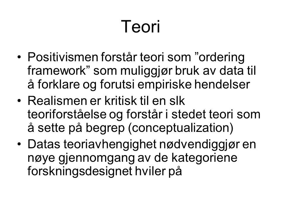 """Teori Positivismen forstår teori som """"ordering framework"""" som muliggjør bruk av data til å forklare og forutsi empiriske hendelser Realismen er kritis"""