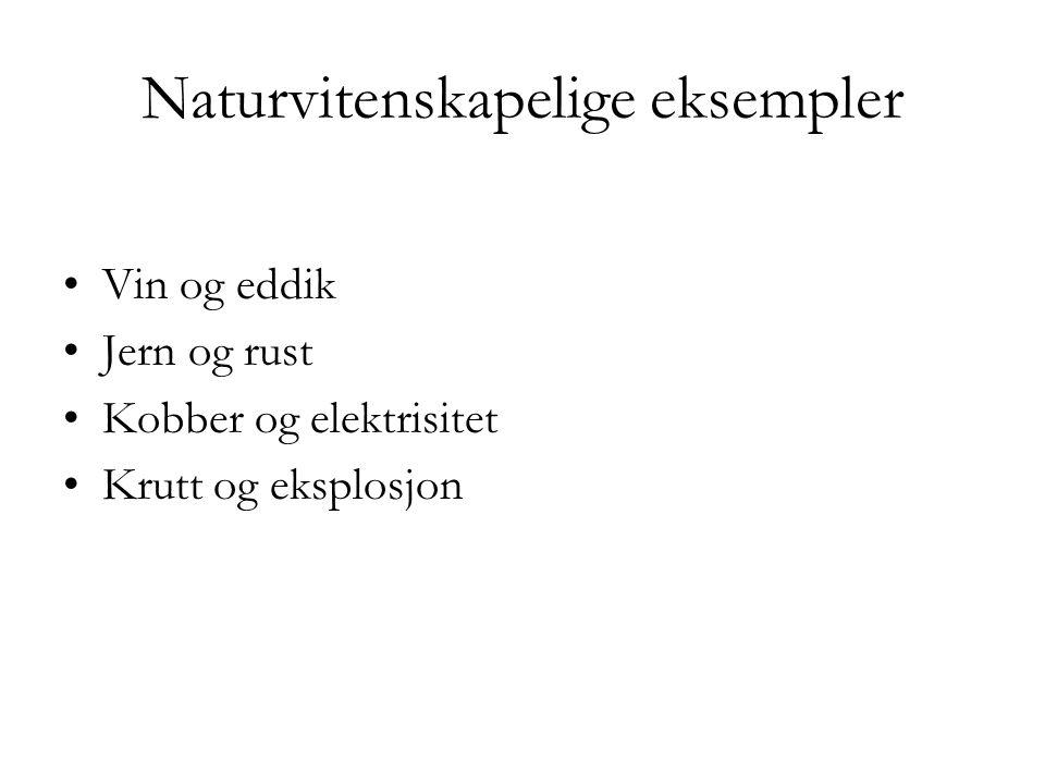 Naturvitenskapelige eksempler Vin og eddik Jern og rust Kobber og elektrisitet Krutt og eksplosjon