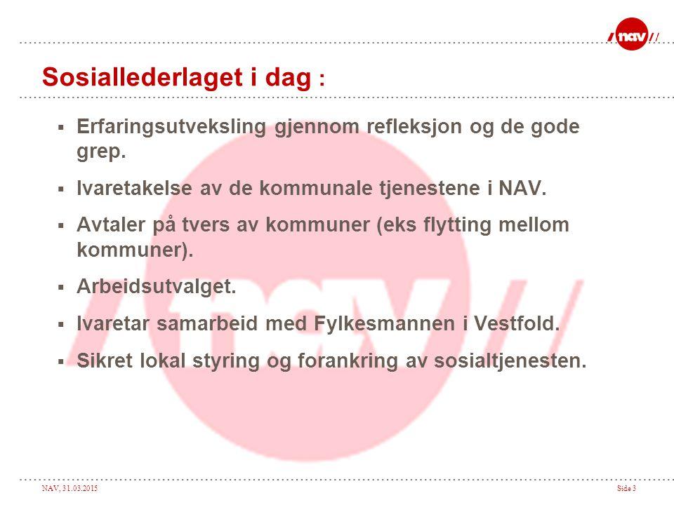 NAV, 31.03.2015Side 3 Sosiallederlaget i dag :  Erfaringsutveksling gjennom refleksjon og de gode grep.