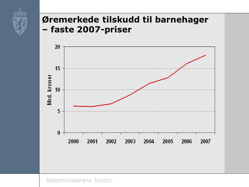 Statsministerens kontor Øremerkede tilskudd til barnehager – faste 2007-priser