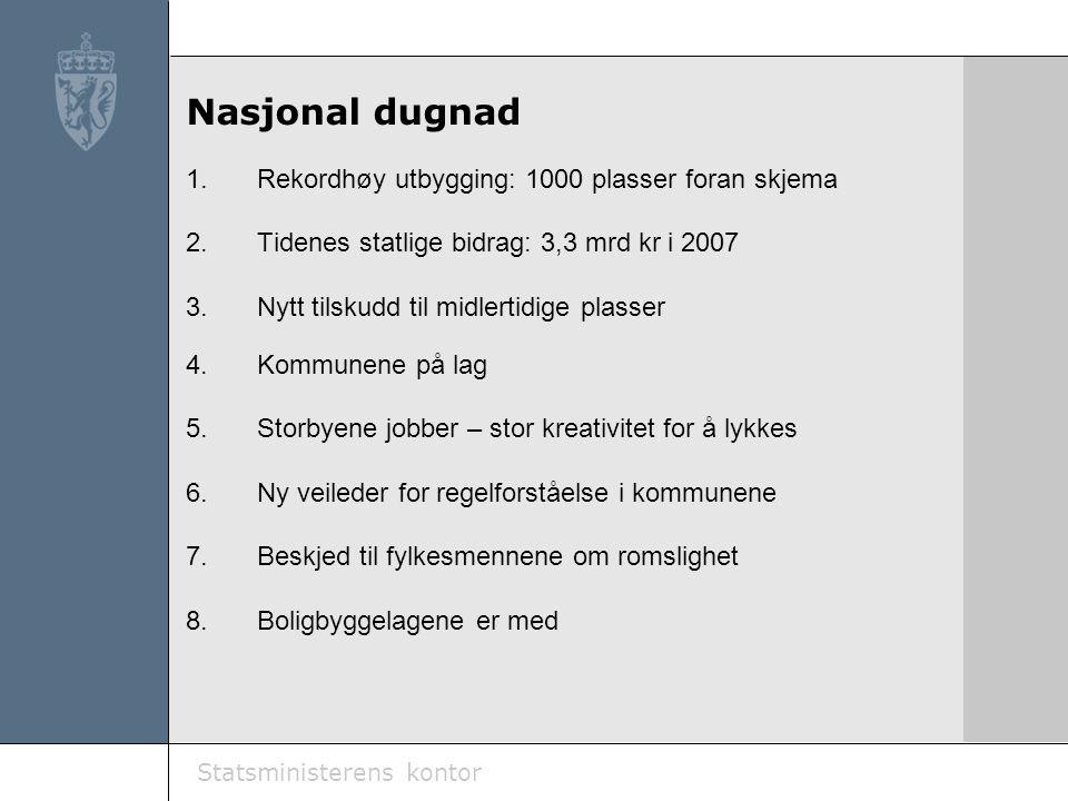 Statsministerens kontor Nasjonal dugnad 1.Rekordhøy utbygging: 1000 plasser foran skjema 2.Tidenes statlige bidrag: 3,3 mrd kr i 2007 3.Nytt tilskudd til midlertidige plasser 4.